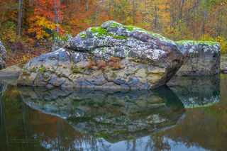 Buffalo National River, Upper Buffalo Wilderness, Hedges Hole, Buffalo River, fall, autumn, boulder