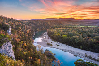 sunset, colorful sky, Buffalo River, Buffalo National River, colorful