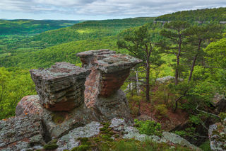 rock outcrop, Tea Table Rocks, Ozarks, Ozark National Forest, spring, green