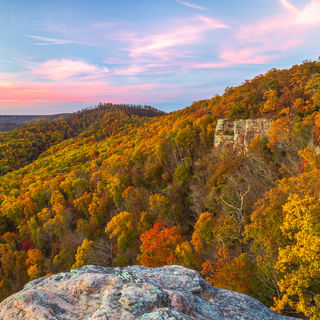 White Rock Mountain, Ozarks, Ozark National Forest, fall, autumn, pink sky, fall color