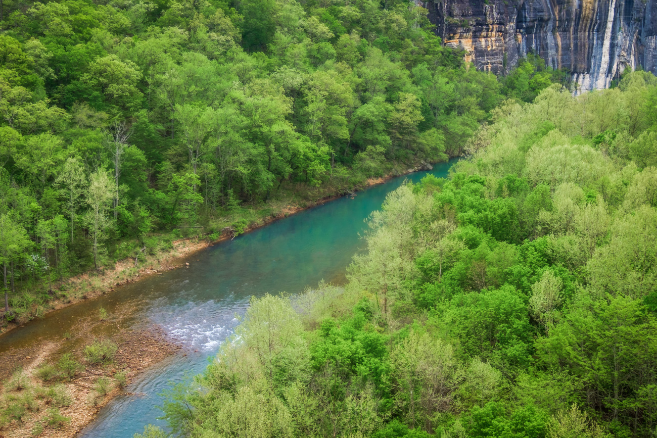 Looking down on the Buffalo River between Ponca and Steel Creek during April.