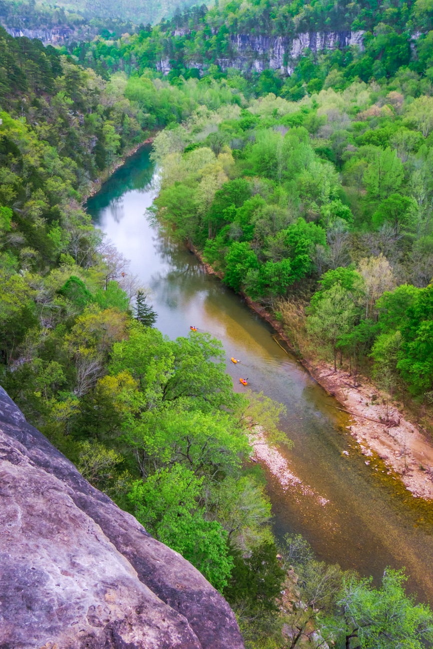 spring, green, Buffalo River, Buffalo National River, kayak, view, overlook, Ponca Wilderness, photo
