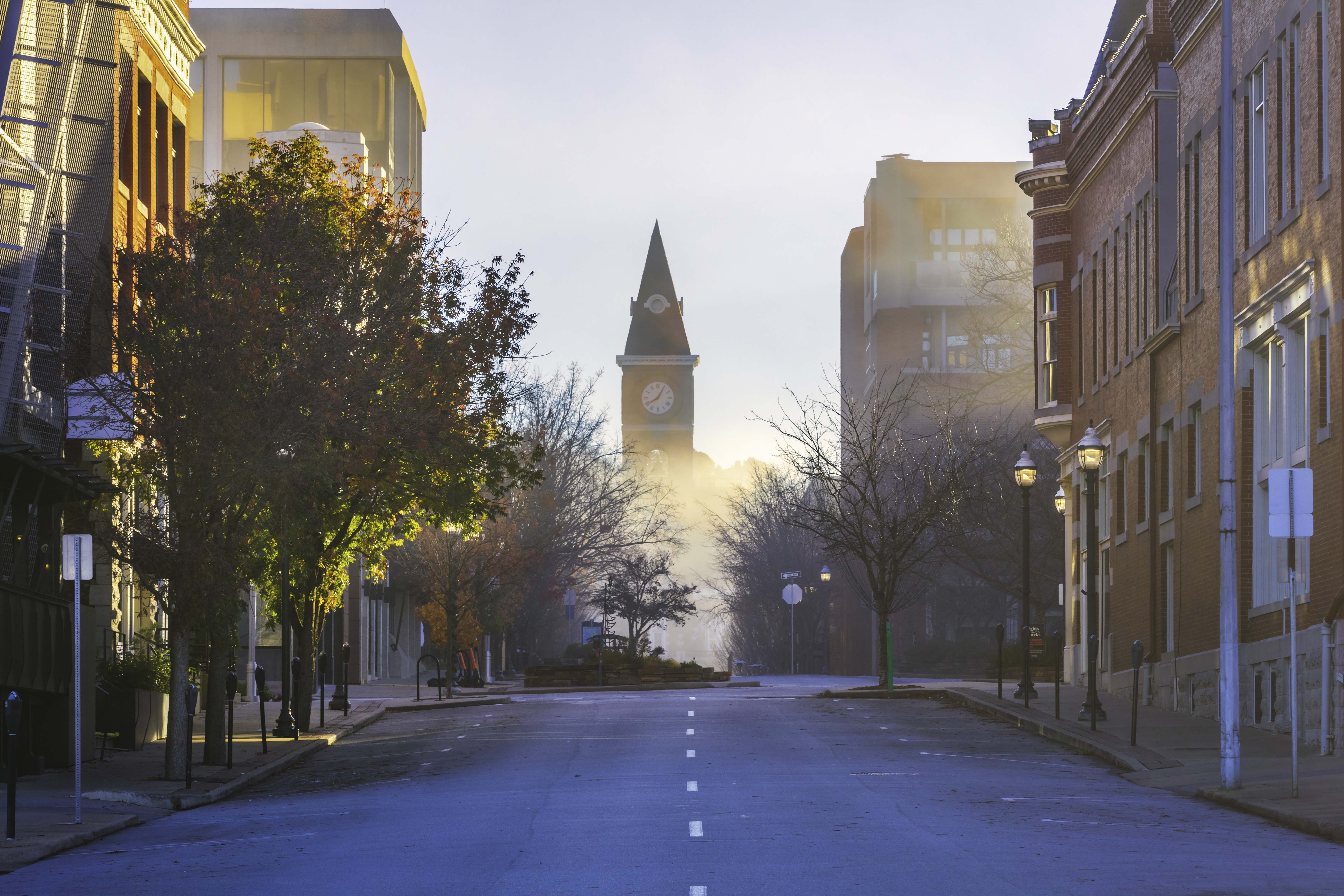 The view looking east along Center Street toward the historic county courthouse.