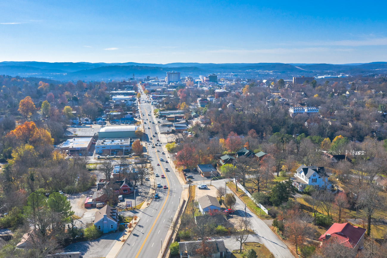 Fayetteville, Fayetteville Arkansas, drone photography, College Avenue, photo