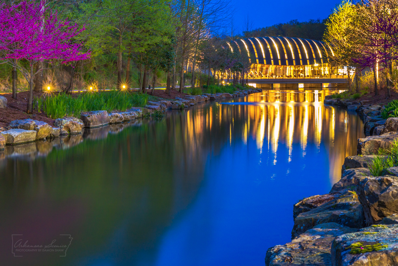 Bentonville Arkansas, Crystal Bridges, Crystal Bridges Museum, Bentonville, Arkansas art, blue, redbud, photo