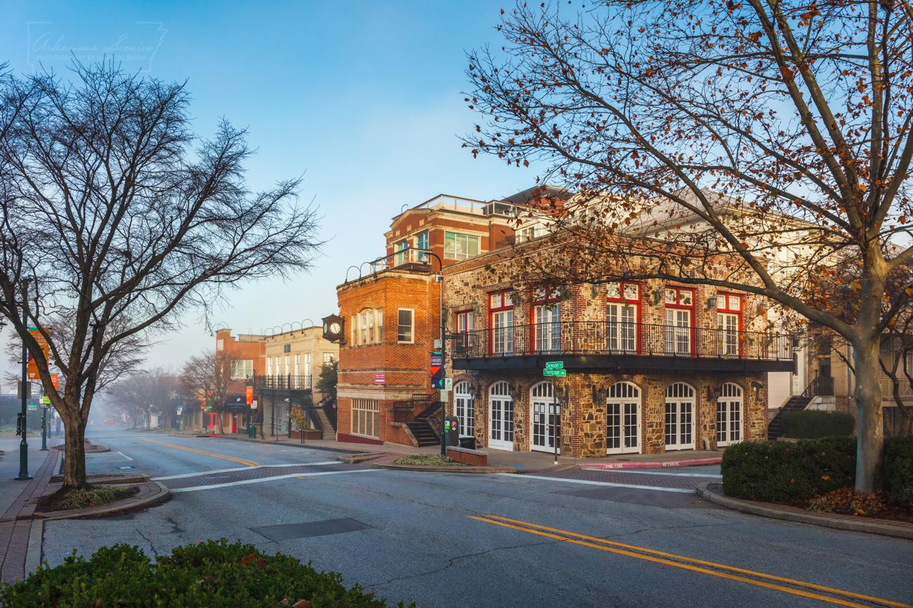A quiet morning scene along Dickson Street in Fayetteville.
