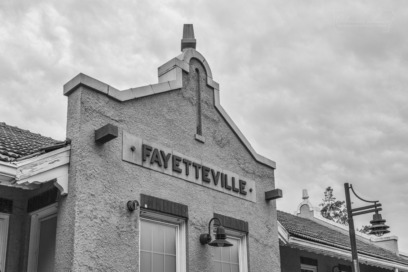 black, white, black and white, Fayetteville, sign, depot, building, train depot, photo