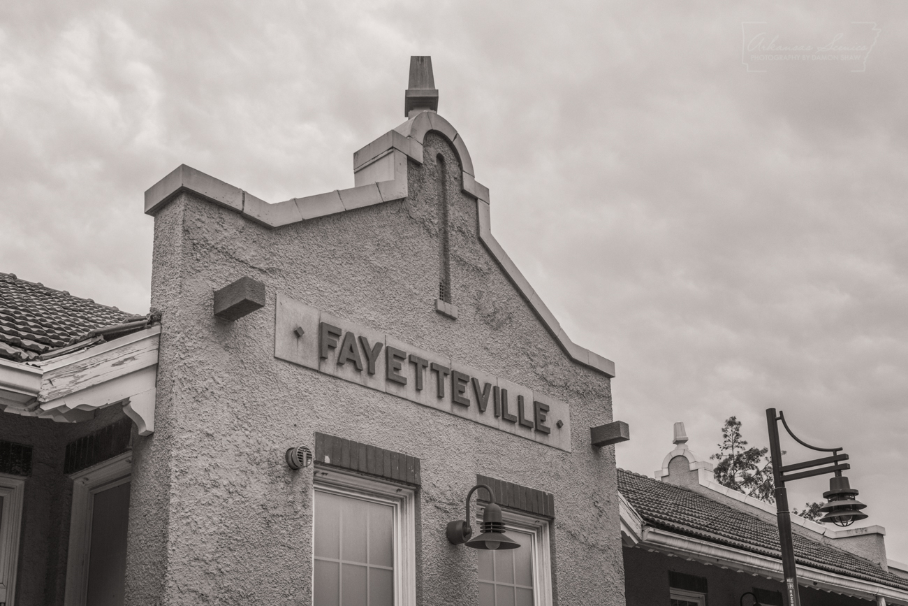 The Fayetteville Train Depot building just off Dickson Street.