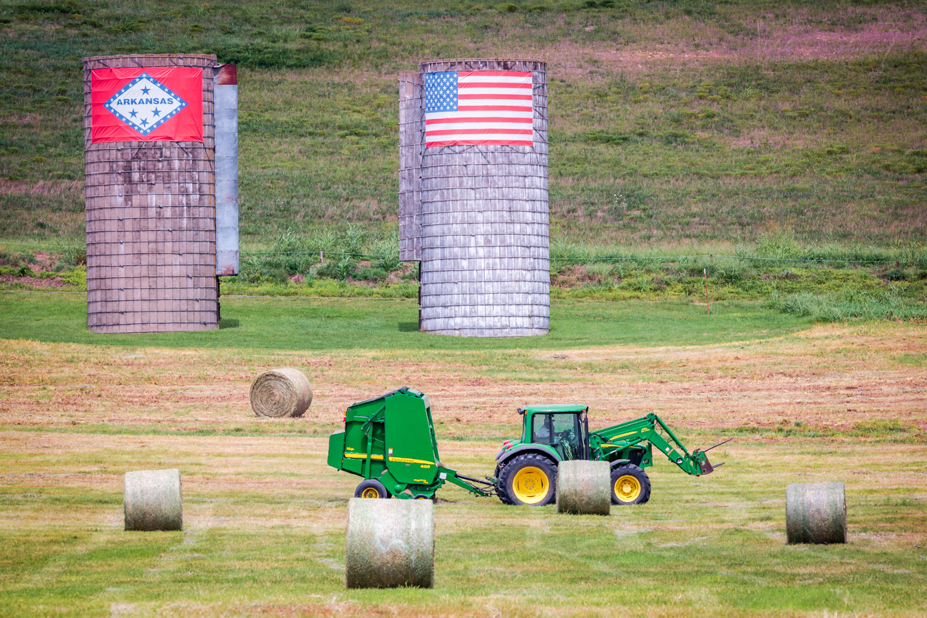 Harvesting the hay on a farm near Fayetteville.