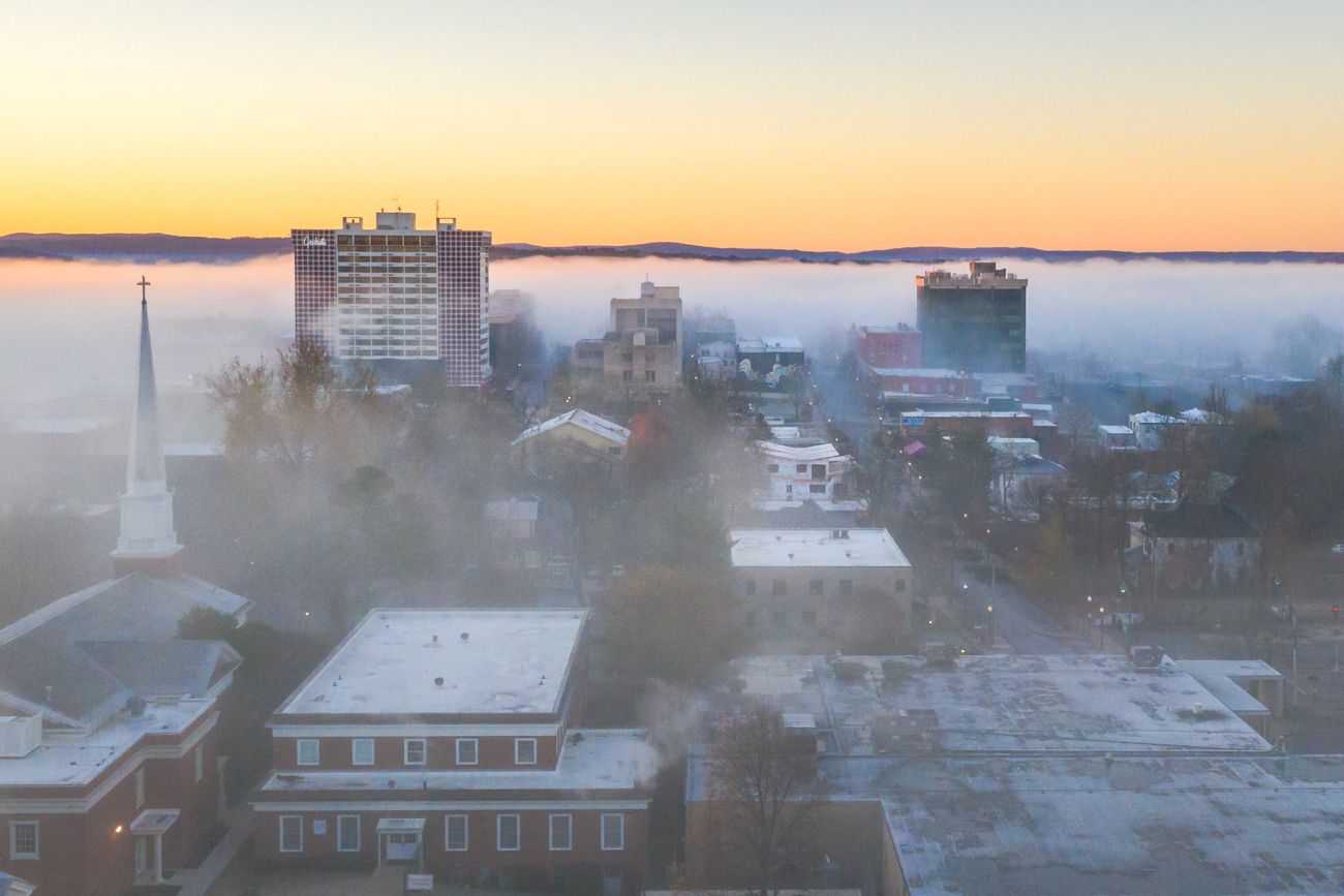 Downtown Fayetteville on a foggy morning