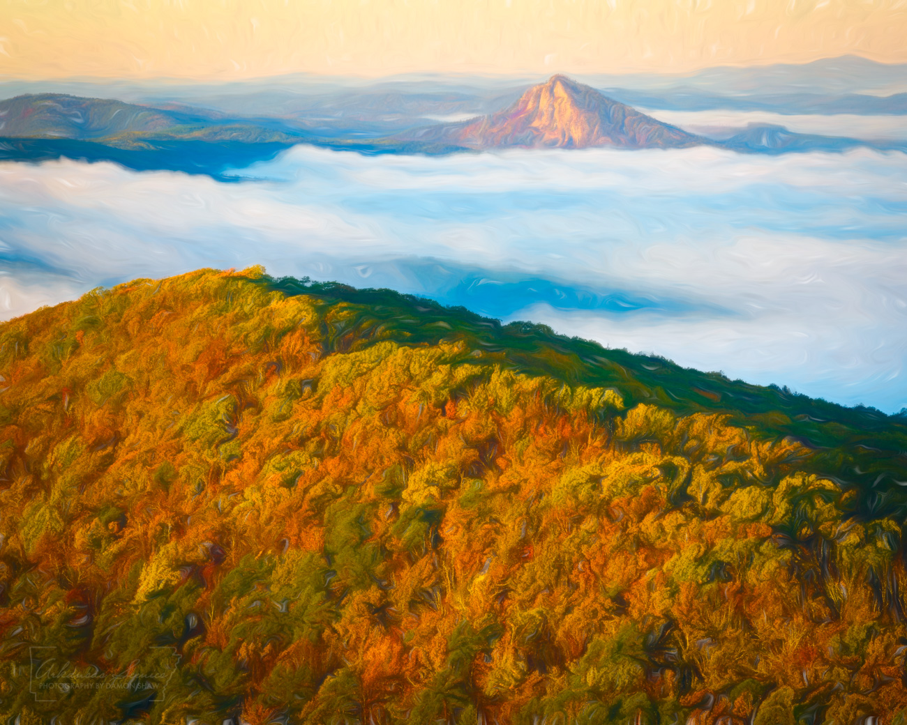 Forked Mountain, Ouachitas, Ouachita National Forest, digital art, impressionism, Arkansas art, art, canvas, fall, fall colors, photo