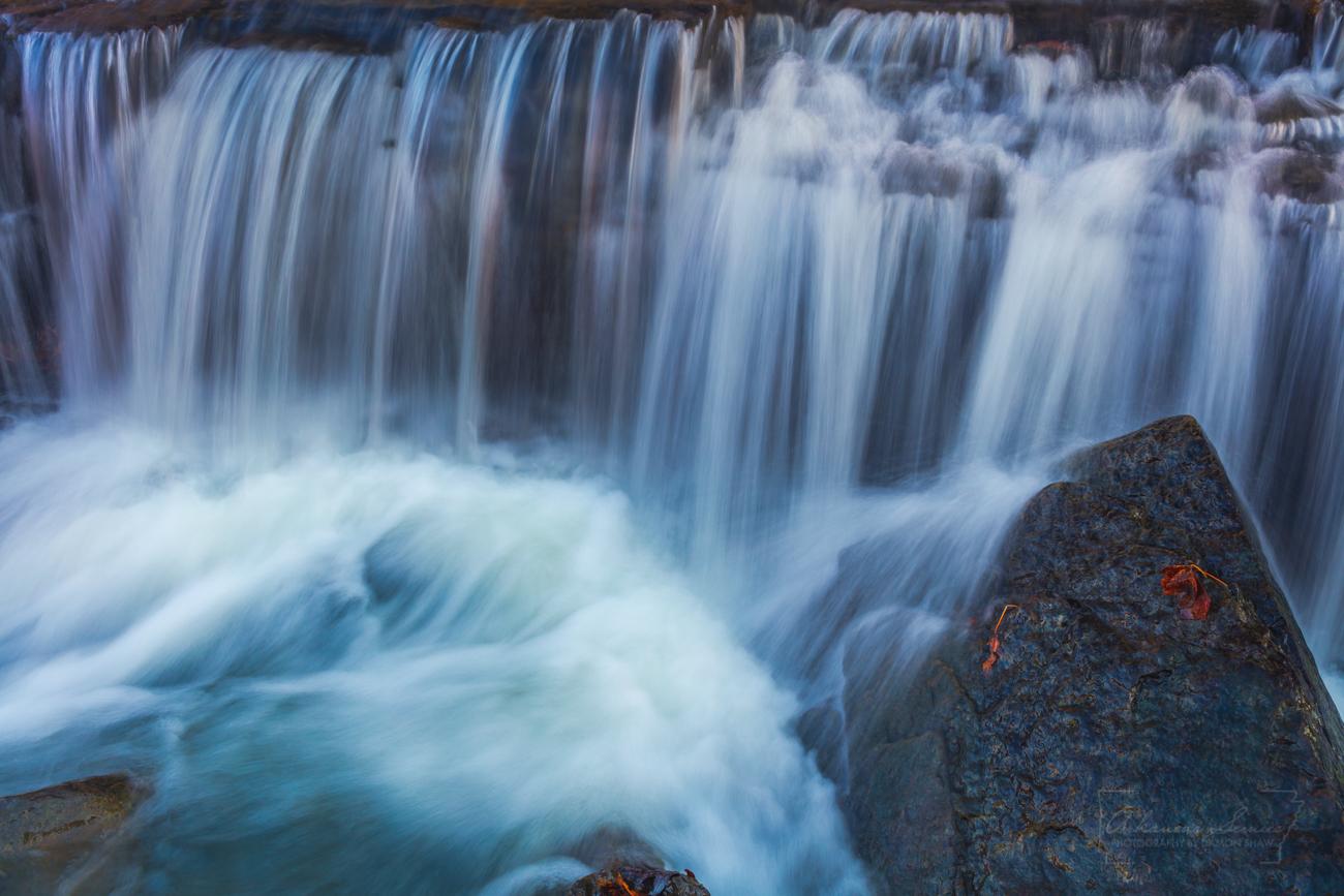 A close up of Frog Bayou Falls on Frog Bayou Creek in Crawford County.
