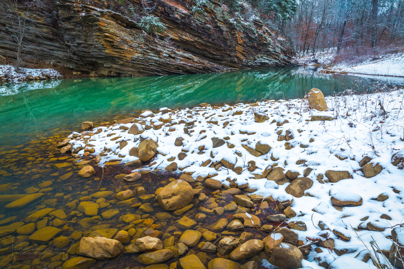 Snow along the banks of Jack Creek in Logan County.