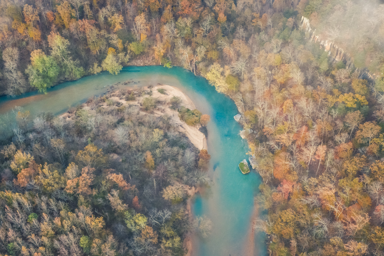 Kings River, aerial, drone, autumn, fall color