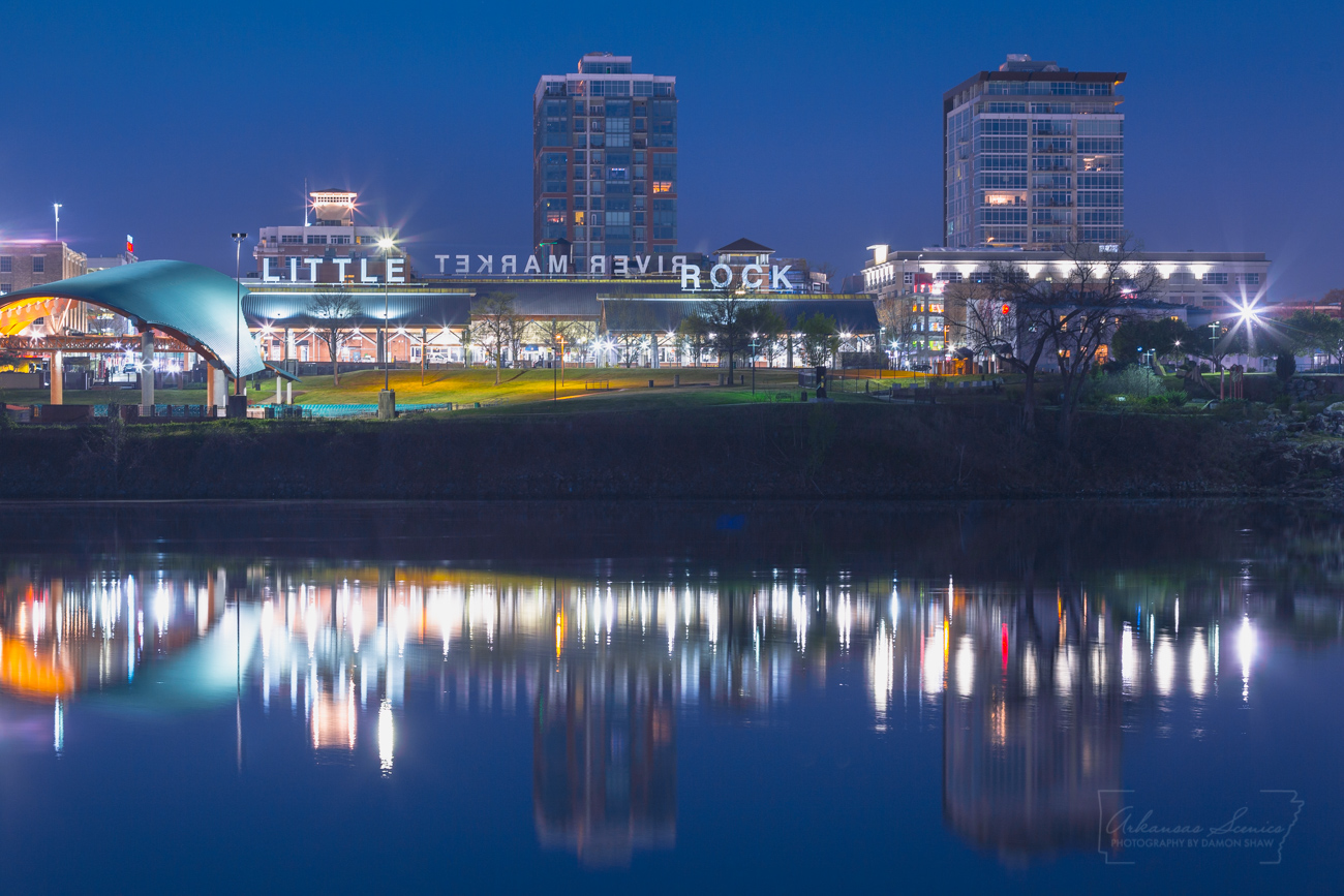 Reflections of the the Little Rock River Market in the Arkansas River.