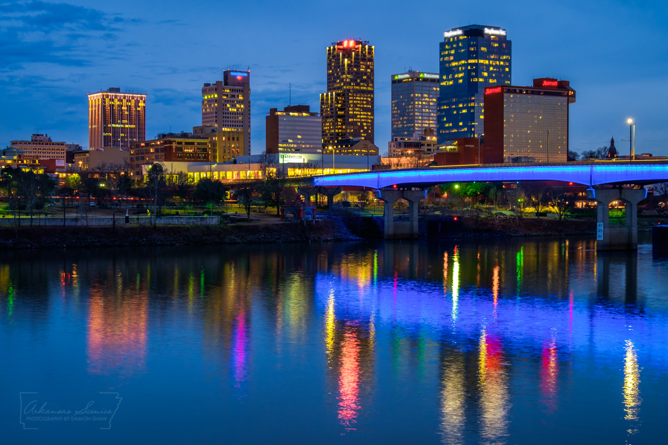 """The """"blue hour"""" after sunset in downtown Little Rock."""