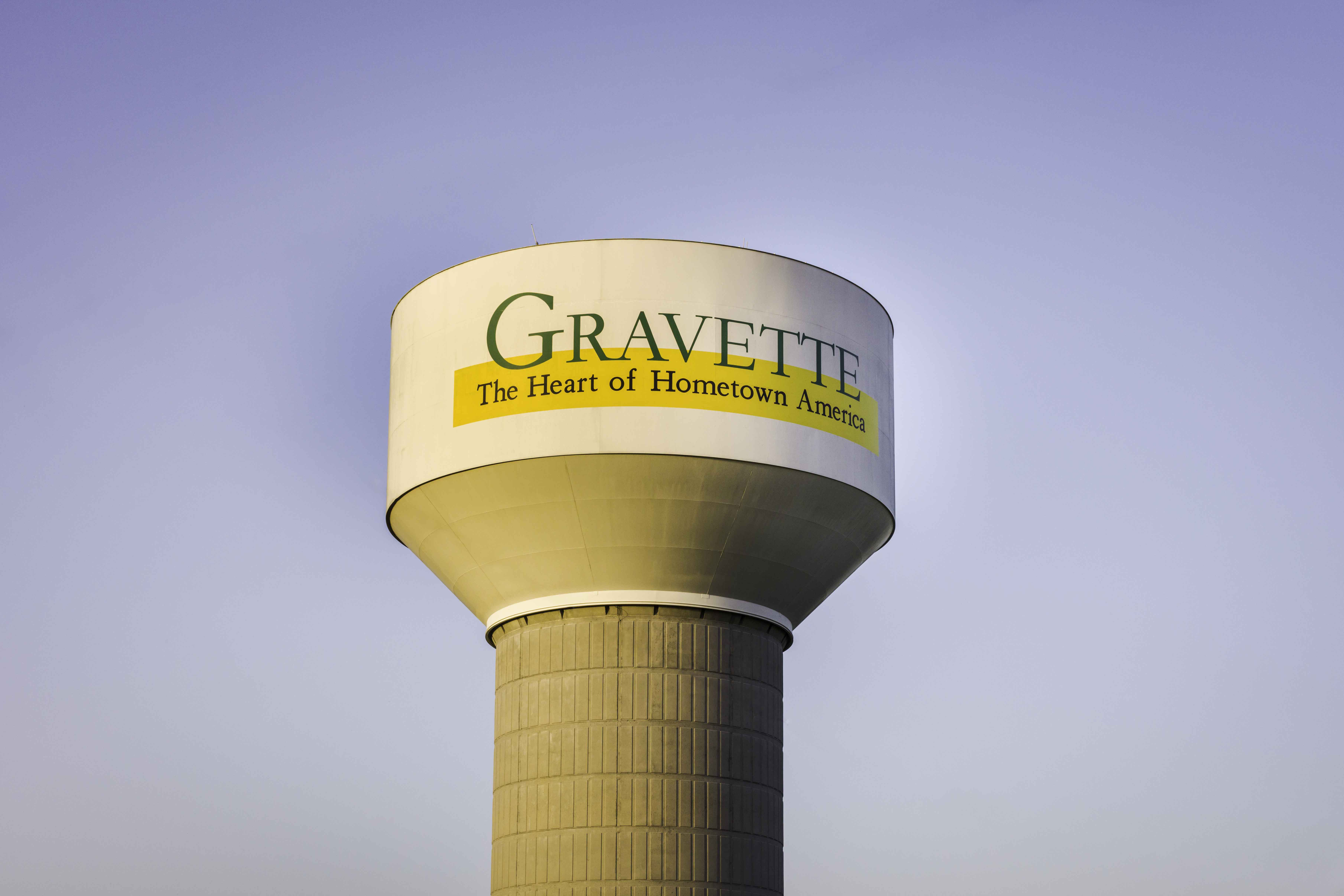 Gravette, water tower, photo