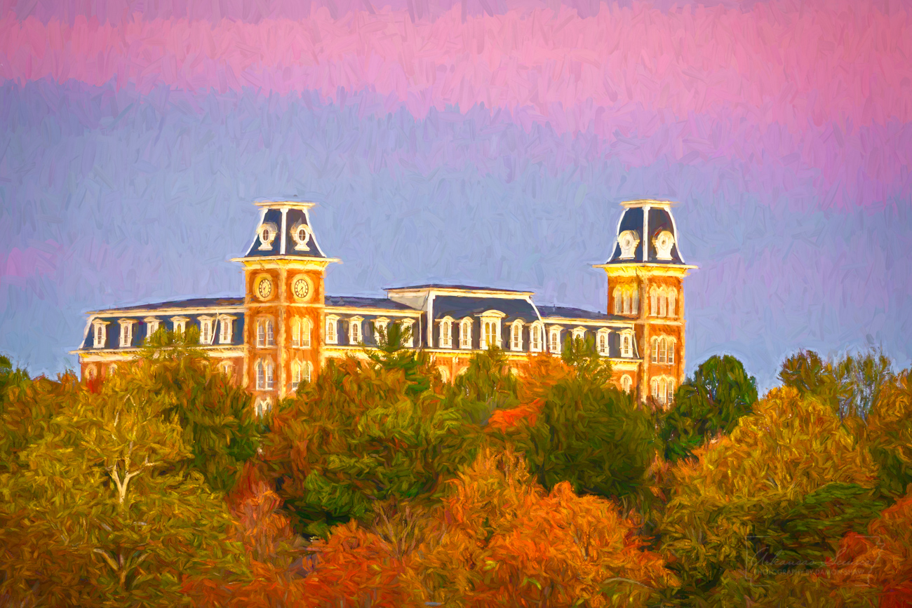 Old Main, University of Arkansas, Northwest Arkansas art, Fayetteville art, Fayetteville Arkansas, impressionism, digital art, photo