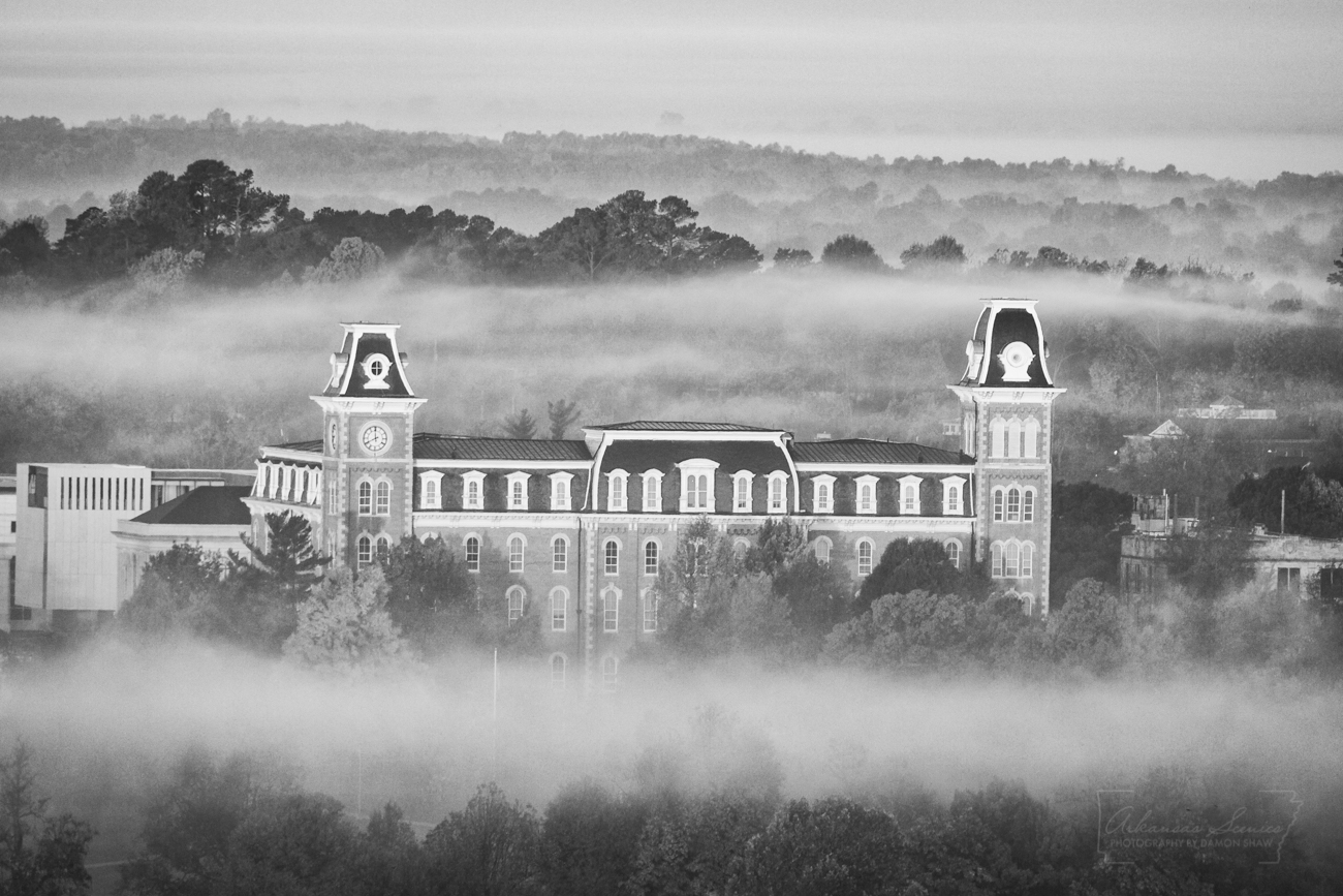 Old Main on the campus of the University of Arkansas viewed from Mount Sequoyah.