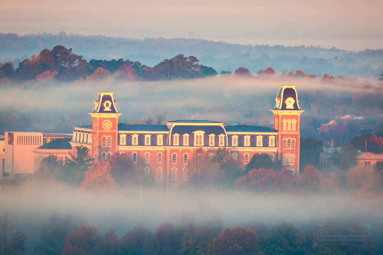 fog, Old Main, Fayetteville, University of Arkansas, autumn