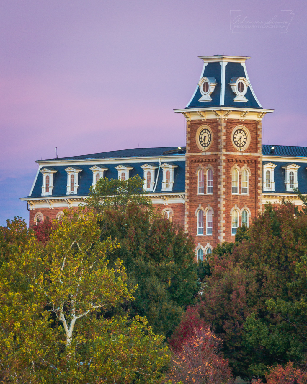 A pink sky over Old Main at the University of Arkansas