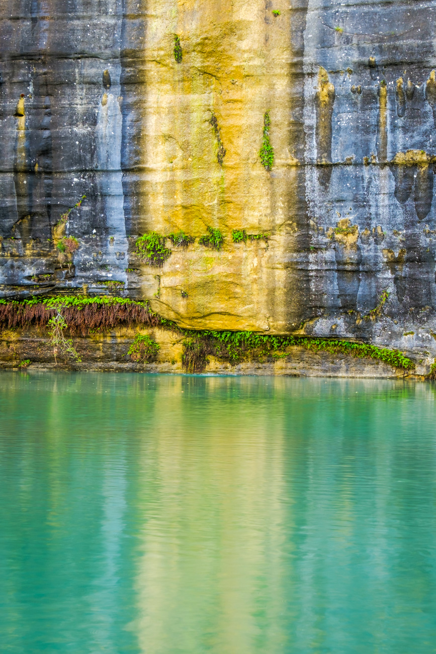 A mineral stained bluff on the Buffalo River near Ponca.