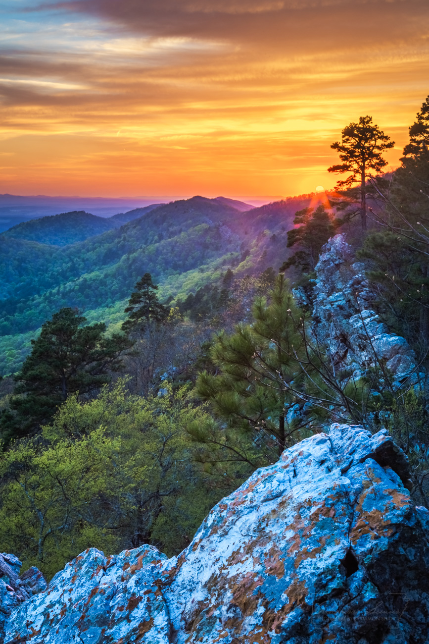 Ouachita Mountains, Ouachita National Forest, sunset, photo