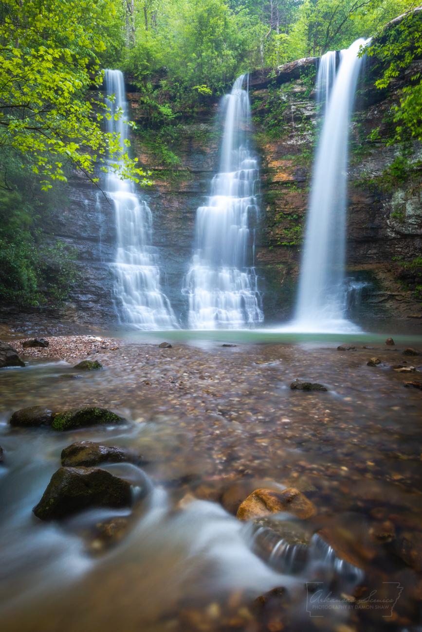 Triple Falls, green, waterfall, Arkansas waterfalls, vertical, photo