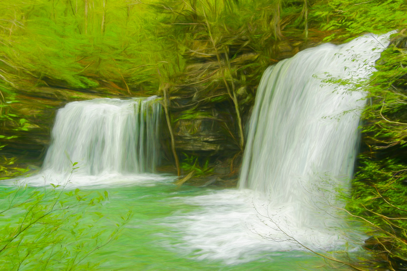 Digital art, Twin Falls, Richland Creek Wilderness, photo
