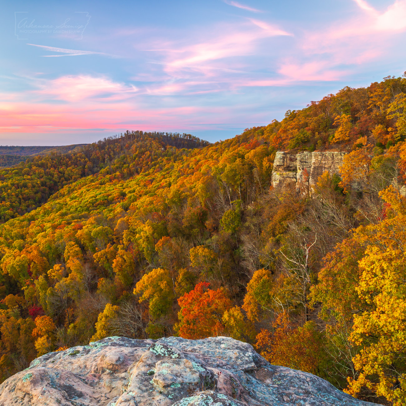 Fall color at White Rock Mountain in Franklin County on a November evening.